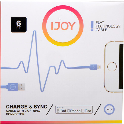 iJOY Lightning to USB Flat Line Cable (6', Blue)