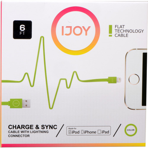 iJOY Lightning to USB Flat Line Cable (6', Green)