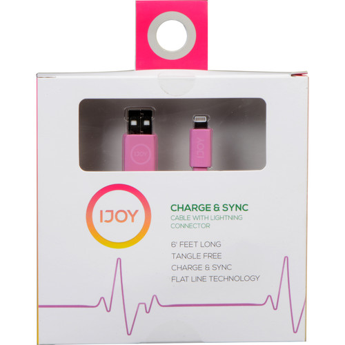 iJOY Lightning to USB Flat Line Cable (6', Pink)