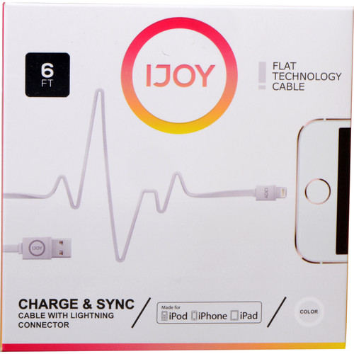 iJOY Lightning to USB Flat Line Cable (6', White)