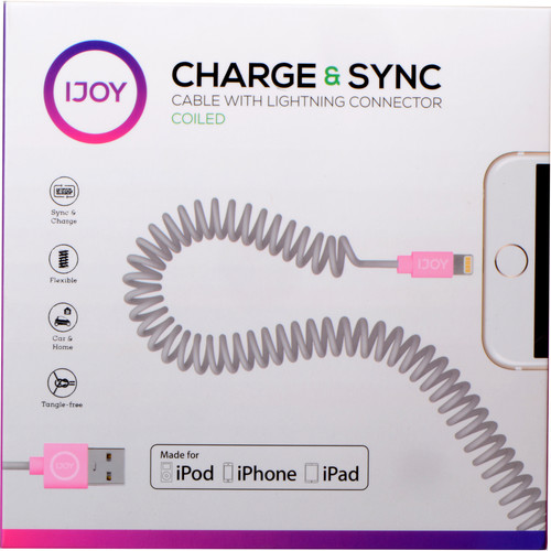 iJOY Coiled Lightning to USB 2.0 Cable (3', Gray)