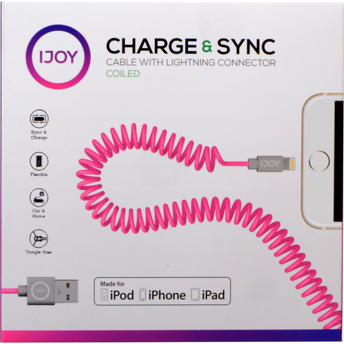 iJOY Coiled Lightning to USB 2.0 Cable (3', Pink)