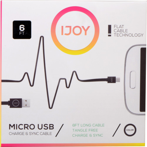 iJOY USB Type-A to Micro-USB Flat Charge & Sync Cable (6', Black)