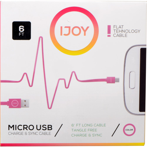 iJOY USB Type-A to Micro-USB Flat Charge & Sync Cable (6', Pink)