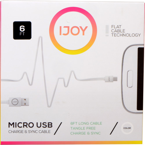 iJOY USB Type-A to Micro-USB Flat Charge & Sync Cable (6', White)