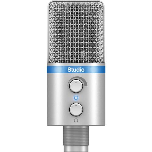 IK Multimedia iRig Mic Studio, Portable Large-Diaphragm Digital Microphone (Silver)