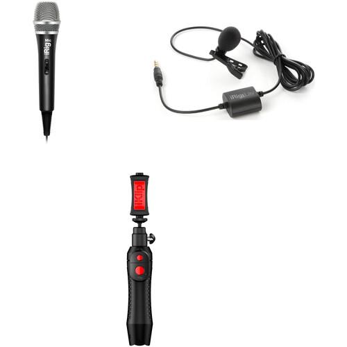 IK Multimedia Mobile Field Kit with iRig Mic, iRig Lav, and iKlip Grip Pro