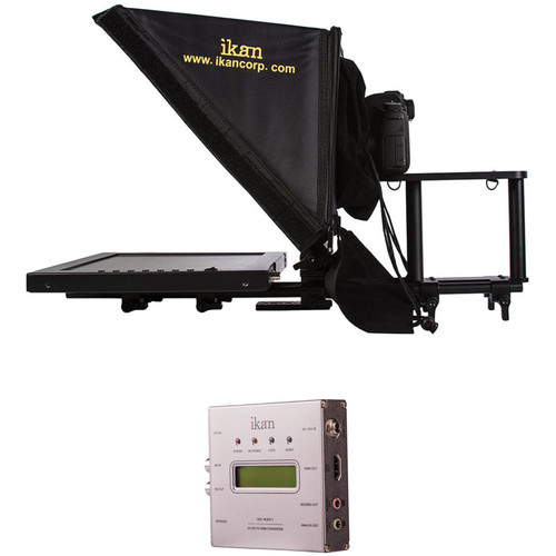 """ikan 15"""" Teleprompter for 15mm Rods with SDI to HDMI Converter Unit"""