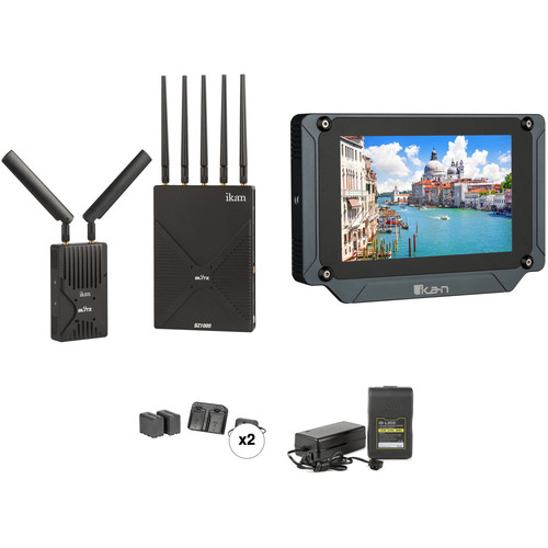 """ikan Blitz 1000 Wireless Transmitter/Receiver Kit with 7"""" Monitor & Batteries"""