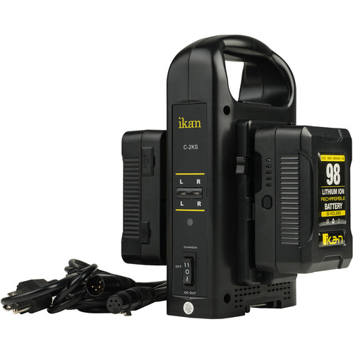 ikan Dual Charger and 2 x 98Wh Battery Kit (V-Mount)