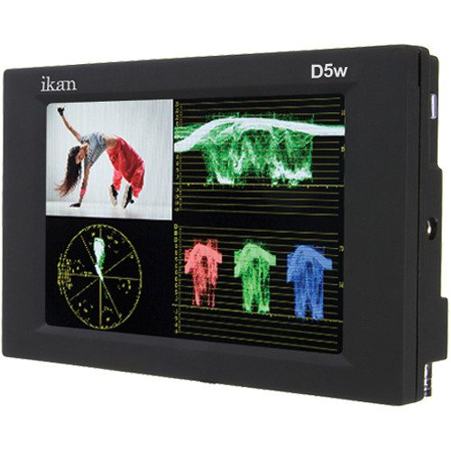 "ikan D5W-2 5.6"" On-Camera Monitor with Waveform, Scopes, and Canon LP-E6, Nikon EN-EL15, Panasonic G6 Type Battery Plates"