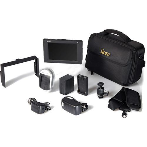 "ikan D5w 5.6"" 3G-SDI Field Monitor with Waveform, Canon LP-E6 Deluxe Kit"