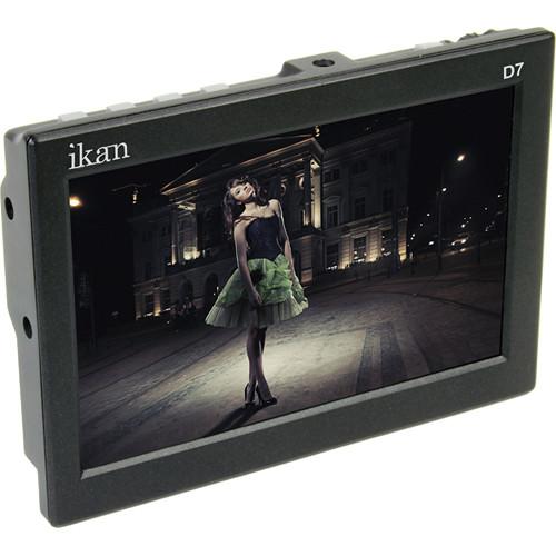 "ikan D7-2 7"" 3G-SDI/HDMI LCD Field Monitor with Canon LP-E6, Nikon EN-EL 15, Panasonic G6 Type Batt Plates"