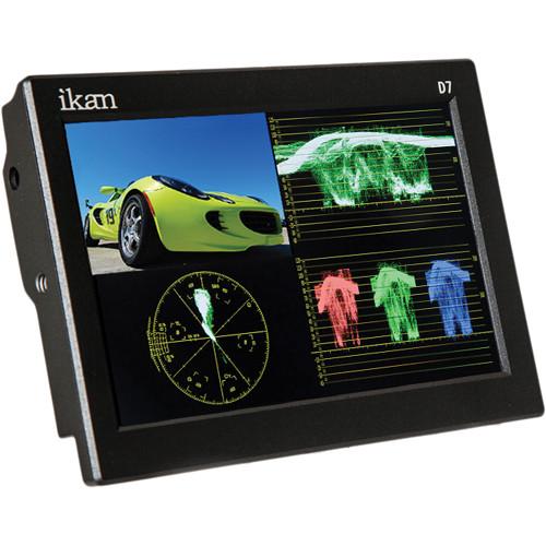"ikan D7-1 7"" 3G-SDI/HDMI Field Monitor w/Waveform & Canon 900, Sony L, Panasonic D54 Battery Plates"