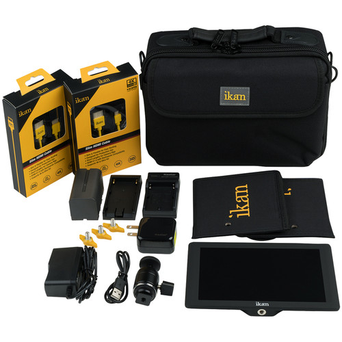 "ikan DH7 7"" HDMI LCD Monitor Deluxe Kit with Nikon EL15-Series Type Battery, Plate, & Charger"