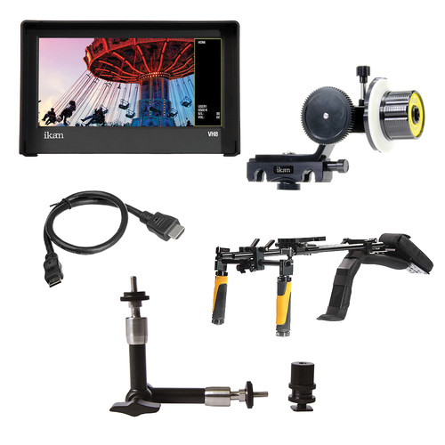 ikan DSLR Shoulder Rig Turnkey Kit, Follow Focus, Monitor with E6 Battery Plate