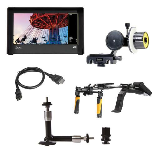 ikan DSLR Shoulder Rig Turnkey Kit, Follow Focus, Monitor w/Nikon Type Battery Plate
