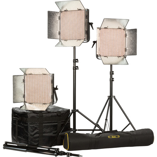 ikan IB1000-PLUS 3-Light Kit with Gold Mount Battery Plates