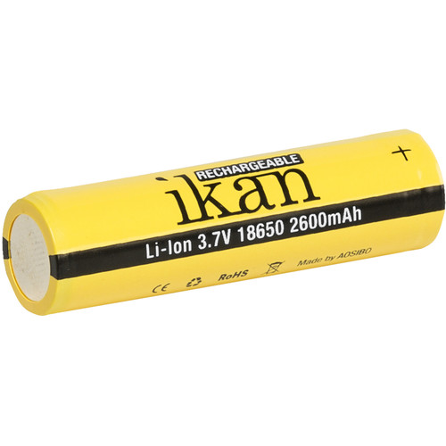 ikan 18650 Lithium-Ion Battery (3.7V, 2600mAh, 3-Pack)
