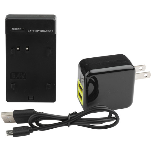 ikan Single DV Battery Charger Base and USB Wall Adapter