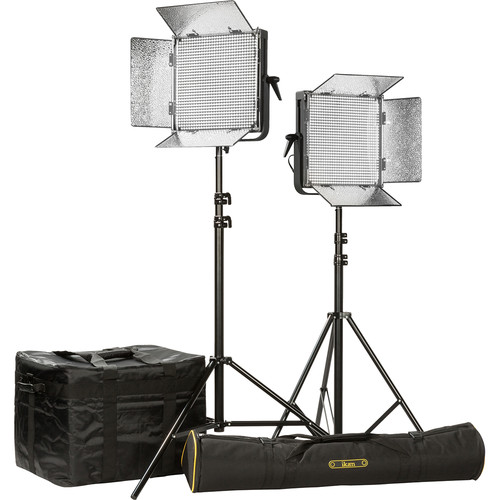 ikan ID1000 LED Plus Daylight Yoke 2-Light Kit with AB Battery Plates