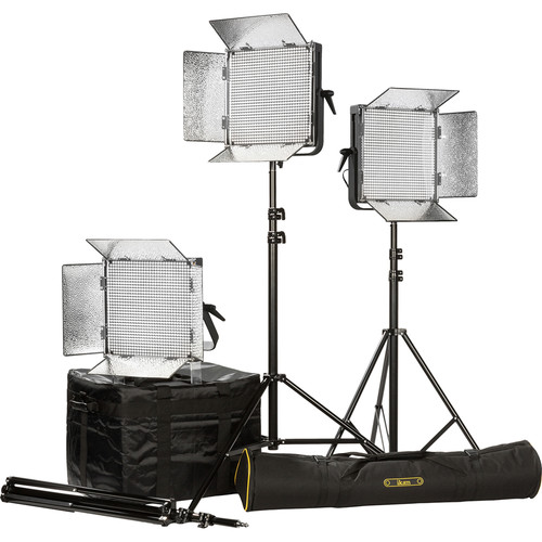 ikan ID1000 LED Plus Daylight Yoke 3-Light Kit with AB Battery Plates