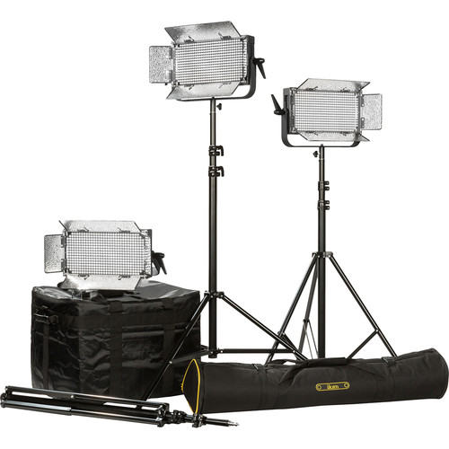 ikan ID500 LED Plus 3-Light Kit with Yokes & AB Battery Plates