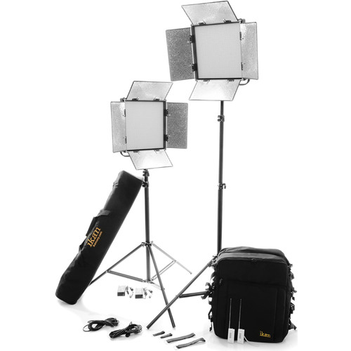 ikan Featherweight Bi-Color LED 2-Point Kit with 2x IFB1024 Lights and Battery Plates
