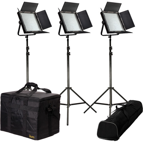 ikan Featherweight Bi-Color LED 3-Point Kit with 3x IFB1024 Lights