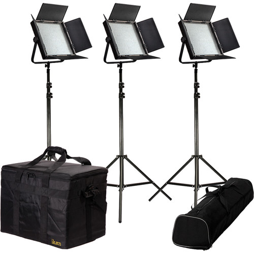 ikan IFD1024 3-Light Kit with Anton Bauer Plates and V-Mount Adapters
