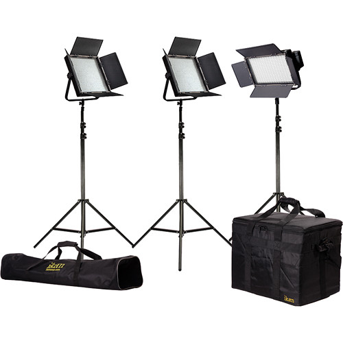 ikan Featherweight LED 1x IFD576 and 2x IFD1024 Light Kit with AB & V-Mount Plates