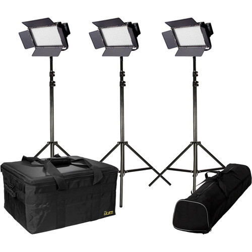 ikan IFD576 Featherweight 3-Light Kit with AB & V-Mount Plates