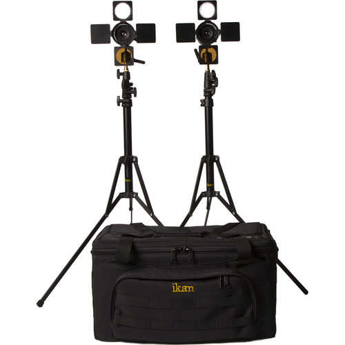 ikan iLED6-2PT-KIT iLED6 2 x Zoom ENG LED On-Camera Light Kit with Stands and Bag