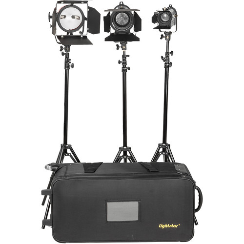 ikan Lightstar 3-Point Tungsten Light Kit with 400W Open Face, 150W and 300W Fresnels