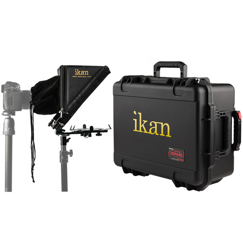 ikan Elite Tablet & iPad Light Stand Teleprompter Kit with Rolling Hard Case
