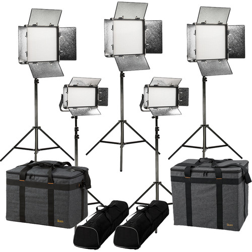 ikan Rayden Bi-Color 5-Light LED Kit with Stands and Bags