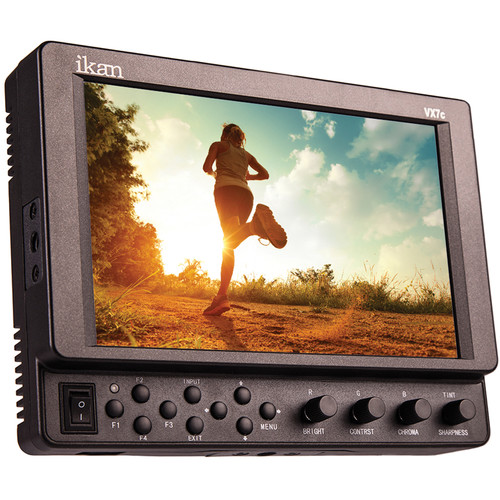 "ikan VX7c 7"" On-Camera Monitor with Cross Converting 3G-SDI & HDMI, Case, Canon 900 Series Battery & Charger"