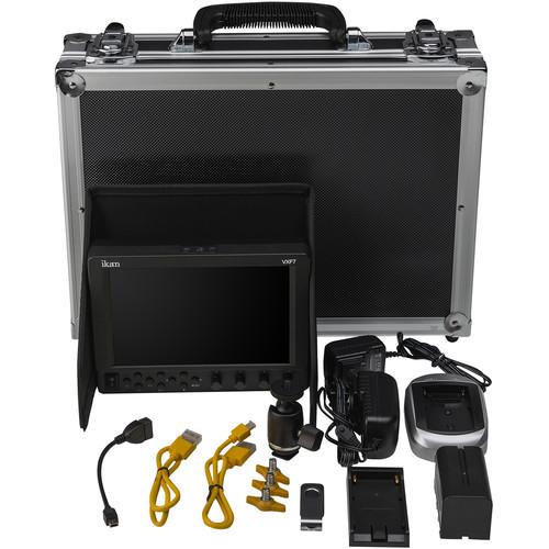 "ikan VXF7-DK 7"" On-Camera Field Monitor Deluxe Kit (Canon LP-E6 Type)"