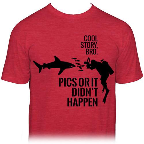 """Ikelite """"Pics or It Didn't Happen"""" Diver Shark T-Shirt (M)"""