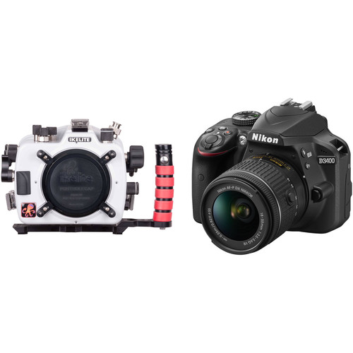Ikelite TTL Underwater Housing with FL Port Mount and Nikon D3400 DSLR with 18-55mm Lens Kit