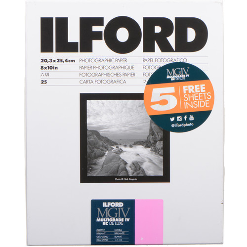 "Ilford Multigrade IV RC DeLuxe Paper (Glossy, 8 x 10"", 30 Sheets)"