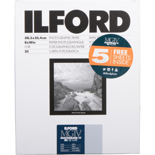 "Ilford Multigrade IV RC DeLuxe Paper (Pearl, 8 x 10"", 30 Sheets)"