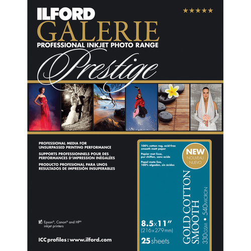 "Ilford GALERIE Prestige Gold Cotton Smooth Paper (8.5 x 11"", 25 Sheets)"