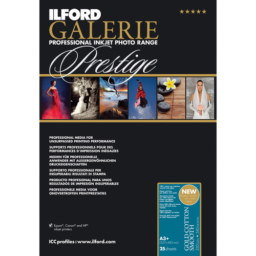 """Ilford GALERIE Prestige Gold Cotton Smooth Paper (13 x 19"""", 25 Sheets)"""