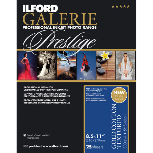 """Ilford GALERIE Prestige Gold Cotton Textured Paper (8.5 x 11"""", 25 Sheets)"""