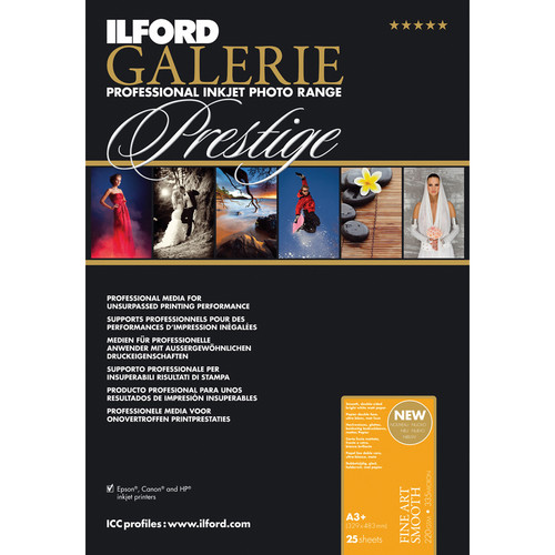 """Ilford GALERIE Prestige Fine Art Smooth Paper (220 gsm, 13 x 19"""", 25 Sheets)"""