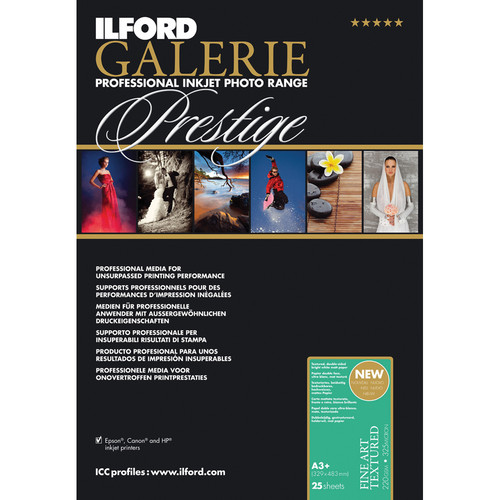 "Ilford GALERIE Prestige Fine Art Textured Paper (220 gsm, 13 x 19"", 25 Sheets)"
