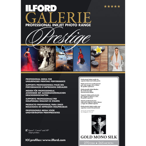 """Ilford GALERIE Prestige Gold Mono Silk Paper (17 x 22"""", 25 Sheets)"""