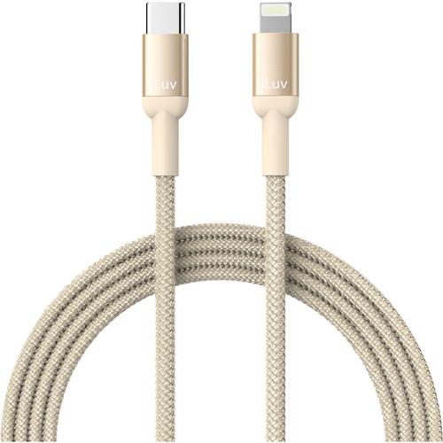 iLuv 3' Premium MFI Lightning-to-USB-Type-C Braided Cable Gold