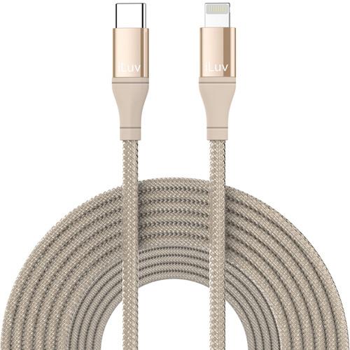iLuv 10' Premium MFI Lightning-to-USB-Type-C Braided Cable Gold